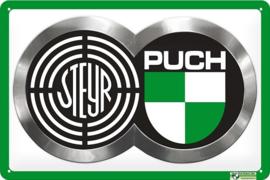 Steyer Puch Logo.  Metalen wandbord  20 x 30 cm.