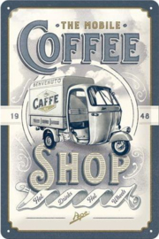 The Mobile Coffee Shop Metalen wandbord in reliëf 20 x 30 cm.