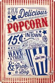 Delicious PopcornMetalen wandbord in reliëf 20 x 30 cm