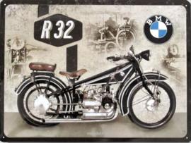 BMW R32  Metalen wandbord inreliëf30 x 40 cm