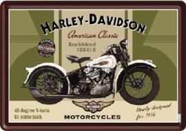 Harley Davidson Knucklehead Metalen Postcard 10 x 14 cm.