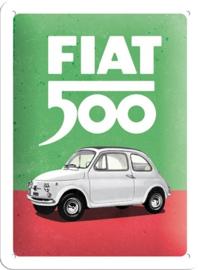 Fiat 500 - Italian Colours.Metalen wandbord in reliëf 15 x 20 cm.