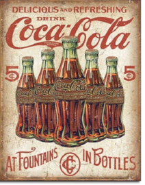 COKE 5 Bottles Retro  ​ Metalen wandbord 31,5 x 40,5 cm.