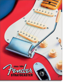 Fender  Since 1954 Stratocaster   Metalen wandbord 31,5 x 40,5 cm.