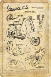 Vespa - Parts Sketches. Metalen wandbord in reliëf 20 x 30 cm.