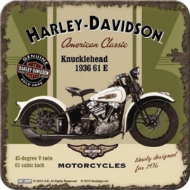 Harley Davidson Knucklehead Onderzetters 9 x 9 cm.  5 stuks.