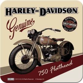 Harley Davidson 750 Flathead  Onderzetters 9 x 9 cm.  5 stuks.