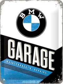 BMW Garage Metalen wandbord in reliëf 15x20 cm