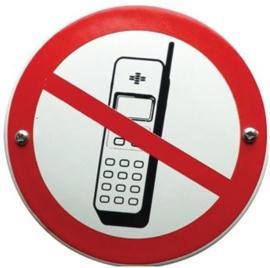 Telefoneren Verboden Emaille bordje ⌀ 10 cm.