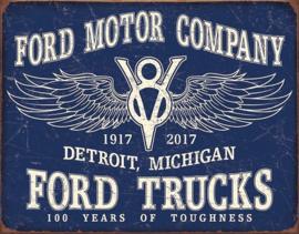 Ford Trucks - 100 Years. Metalen wandbord 31,5 x 40,5 cm.