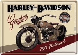 Harley Davidson 750 Flathead Metalen Postcard 10 x 14 cm.