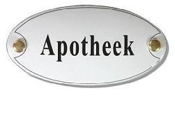 Apotheek Emaille Naambordje 10 x 5 cm Ovaal