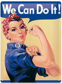 We Can Do It! Metalen wandbord in reliëf 15x20 cm
