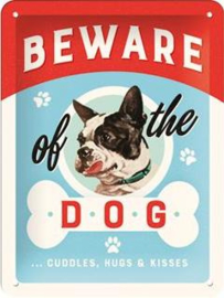 Beware of the Dog Metalen wandbord in reliëf 15 x 20 cm