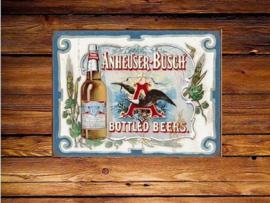 Anheuser Busch  Bottled Beers Metalen wandbord 31,5 x 40,5 cm.