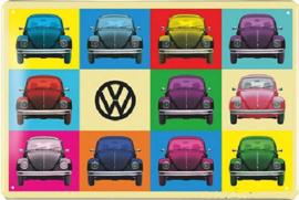 VW Kever Multicolor Metalen wandbord in reliëf 20 x 30 cm.