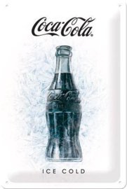 Coca Cola Ice Cold Metalen wandbord in reliëf 20 x 30 cm.