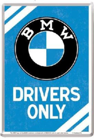 BMW Drivers Only  Metalen Postcard 10  x 14 cm