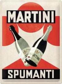 Martini - Spumanti. Metalen wandbord in reliëf 30 x 40 cm.