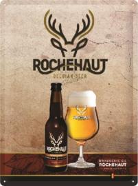 Rocheaut Belgian Beer.   Metalen wandbord in reliëf 30 x 40 cm.