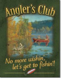 Angler's Club.  Metalen wandbord 31,5 x 40,5 cm.