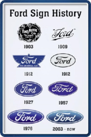 Ford Sign History. Metalen wandbord  20 x 30 cm.