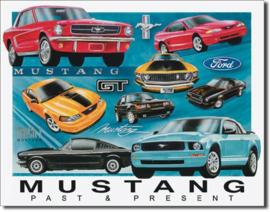 Ford Mustang Past & Present Metalen wandbord 31,5 cm  x 40,5 cm.