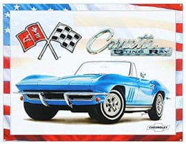 Corvette 65 Sting Ray Metalen wandbord 31,5 x 40,5 cm.