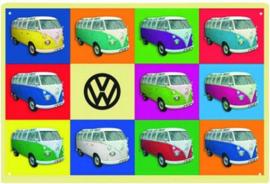 T1 Busjes Multicolor Metalen wandbord in reliëf 20 x 30 cm.
