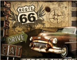 Route 66 Drive & Eat Metalen wandbord in relief 40 x 30 cm