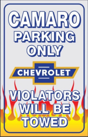 Chevrolet Camaro Parking Only .  Metalen wandbord 30 x 43 cm.