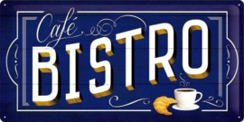 Cafe Bistro Metalen wandbord in reliëf 25 x 50 cm.