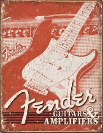 Fender Weathered G&A   Metalen wandbord 31,5 x 40,5 cm.