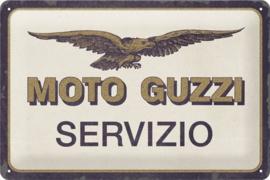 Moto Guzzi - Servizio . Metalen wandbord in reliëf 20 x 30 cm.