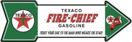 TEXACO Fire Chief Gasoline.  Aluminium Arrow Sign 69 x 21 cm.