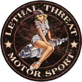 Lethal Threat Motor Sport Stalen wandbord 35,5 cm rond.