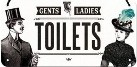 Toilets  Metalen wandbord 10 x 20 cm.
