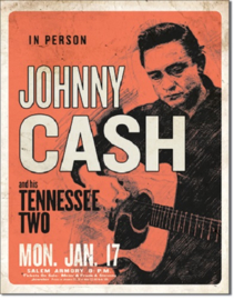 CASH & His Tennessee Two.  Metalen wandbord 31,5 x 40,5 cm.