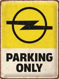 Opel Parking Only.  Metalen wandbord in reliëf 30 x 40 cm.