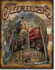 Farmers Backbone of America  Metalen wandbord 31,5 x 40,5 cm.