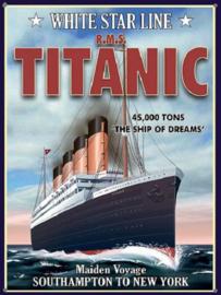 Titanic White Star Line Metalen wandbord 30 x 40 cm.