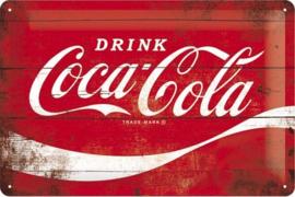 Coca Cola Wave Metalen wandbord   in reliëf 20 x 30 cm.