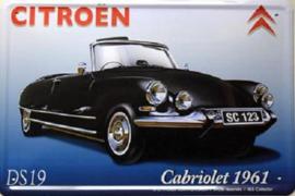 Citroën Cabriolet DS19 1961 Metalen wandbord 15 x 20 cm