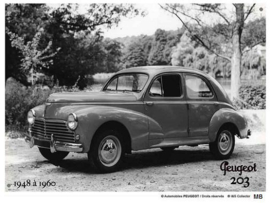 Peugeot 203 1948 a 1960 Metalen wandbord 20 x 30 cm.
