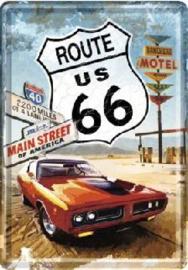 Route 66 Main Street  Metalen Postcard 10 x 14 cm .