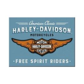Harley Davidson Free Spirit Riders. Koelkastmagneet 8 cm x 6 cm.