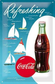 Refreshing  Coca Cola Metalen wandbord in reliëf 20x30 cm