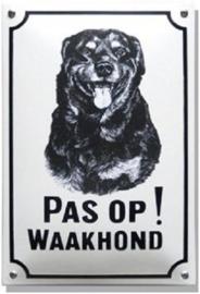 Pas op Waakhond Rottweiler Emaille bordje 20 x 30 cm.