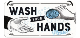 Wash Your Hands Please.  Metalen wandbord 10 x 20 cm.