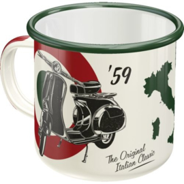 Vespa The Italin Classic. Emaille Drinkbeker